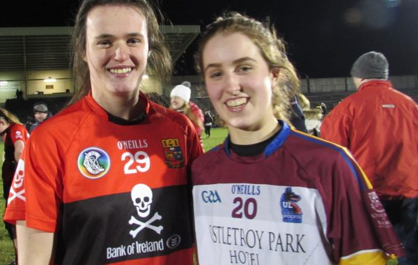 Hazel (UCC) and Grace (UL) after last year's Ashbourne Cup final