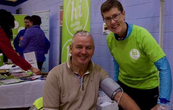 Jim Kennedy gets his blood pressure checked in MacDonagh Park on Sunday