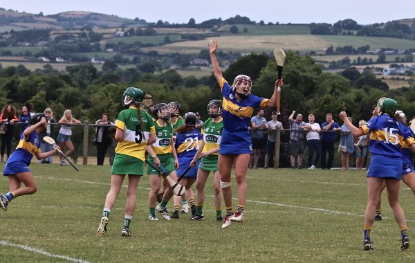 Tipperary dual star Orla O' Dwyer jumps for joy as Grace O' Brien (21) turns away to celebrate her dramatic late winner